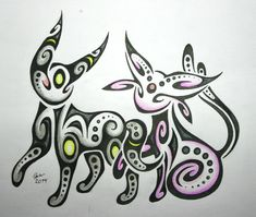 Espeon and Umbreon by Esmeekramer on DeviantArt
