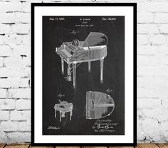 Piano Patent Poster, Music Room Decor, Piano Art, Musician Gifts, Piano Blueprint, Piano Wall Art by STANLEYprintHOUSE  0.79 USD  This is a vintage patent print. The Piano Patent from 1937.  This poster is printed using high quality archival inks, and will be of museum quality. Any of these posters will make a great affordable gift, or tie any room together.  Please choose between different sizes and colors.  T ..  https://www.etsy.com/ca/listing/467939468/piano-patent-poster-music..
