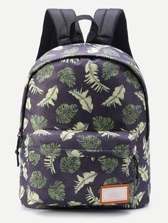Shop Patch Detail Leaf Print Backpack online. SheIn offers Patch Detail Leaf Print Backpack & more to fit your fashionable needs.