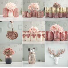 Crafts With Mason Jars Krylon White Copper, Dusty Pink & Foil Metallic Copper. Rust-oleum Too! Glitter Mason Jars, Mason Jar Crafts, Mason Jar Diy, Bottle Crafts, Glitter Vases, Diy Crafts Jars, Pink Mason Jars, Mason Jar Vases, Gold Vases