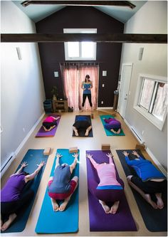 Yoga class in small, intimate, rustic studio with exposed beams:) Who doesn't love child's pose?!