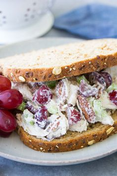 Easy chicken salad recipe with grapes. This healthy chicken salad sandwich is made with Greek yogurt for a lighter lunch. You'll love this simple version of classic chicken salad that you can make ahead.