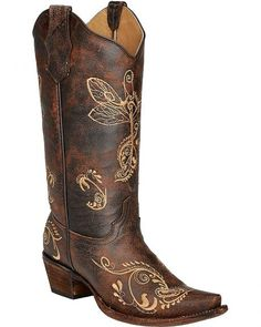 98aa2c72e4ff1 Circle G Distressed Bone Dragonfly Embroidered Boots - Snip Toe