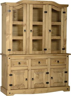 Corona Large Display Cabinet Buffet Hutch Sideboard Furniture Mexican Pine in Home, Furniture & DIY, Furniture, Cabinets & Cupboards Wall Mounted Display Cabinets, Oak Display Cabinet, Wood Display, Hutch Cabinet, Buffet Hutch, Sideboard Furniture, Dining Furniture, Garden Furniture, Kitchens