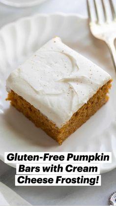 Gluten Free Pumpkin Bars, Gluten Free Deserts, Gluten Free Sweets, Gluten Free Cakes, Foods With Gluten, Gluten Free Baking, Dairy Free Recipes, Sans Gluten, Pumpkin Dessert