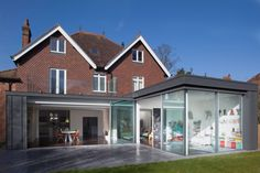 Designed by an award winning architects practice this contemporary extension was made to improve the layout and living space. The glass extension replaced an outdated two storey extension House Extension Plans, House Extension Design, Glass Extension, Extension Designs, Roof Extension, Extension Ideas, House Design, Bungalow Extensions, House Extensions