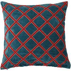 Lattice Cushion Cover, Large - Blue/Red
