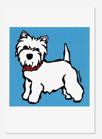 Westie on Blue, 5x7 Card $5