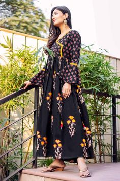 f55b23658 Black Cotton Printed Bell Sleeves Angrakha Dress Online