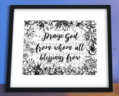 Praise God From Whom All Blessings Flow   Doxology Hymn Sheet Music   Christian Watercolor Art    Printable Quotes   Instant Artwork