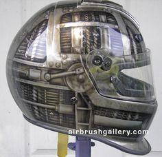 Bell race helmet,custom race helmet design and painting by Don Johnson, airbrushgallery.com