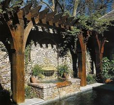"""trellis with fountain by pool ARBOUR and tiled """"roof """" Backyard Pool Designs, Small Backyard Pools, Backyard Pergola, Backyard Landscaping, Pergola Swing, Metal Pergola, Backyard Waterfalls, Pergola Kits, Pergola Ideas"""
