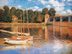 The Bridge at Argenteuil, 1874 - Claude Monet. Monet lived at Aregenteuil, near Paris, for 7 years and produced several works of sailing boats on the Seine. Monet Paintings, Impressionist Paintings, Landscape Paintings, Impressionism Art, Claude Monet, Artist Monet, Art Japonais, Pierre Auguste Renoir, Manet