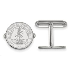 Stanford University Crest Cuff Link in Sterling Silver by LogoArt.,  Jewelry Type: Accessories, Accessory Type: Cuff Links, Material: Primary: Sterling Silver, Material: Primary - Color: White, Material: Primary - Purity: 925, Finish: Polished, Plating: Rhodium, Manufacturing Process: Laser Cut