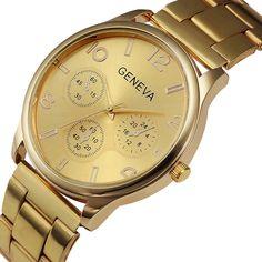 2da77ff526a GENEVA Watch Women Luxury Gold Stainless Steel Bracelet Ladies Wrist Watches  Womens Designers Brand Watch Relogio
