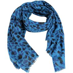 Lily and Lionel Jolie Leopard Print Scarf / Blue ($80) ❤ liked on Polyvore
