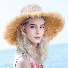 Summer frayed straw hat for women Raffia fringe wide brim sun hat beach wear