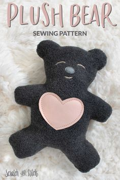 Free plush toy sewing pattern: The Love Bear. Doll Sewing Patterns, Sewing Toys, Sewing Crafts, Teddy Bear Patterns Free, My Teddy Bear, Ladder Stitch, Little Valentine, Love Bear, Sewing Basics