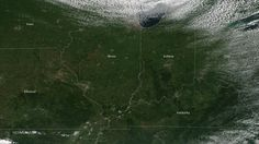 Autumn in the Midwestern U.S.  This animated GIF shows two images from the Suomi NPP satellite of the Midwestern U.S. The first, on August 24th, shows the lush green landscape of one of the most productive agriculture areas in the country. In contrast, the second image taken on October 19th, shows a much more barren landscape after much of the land has been harvested.