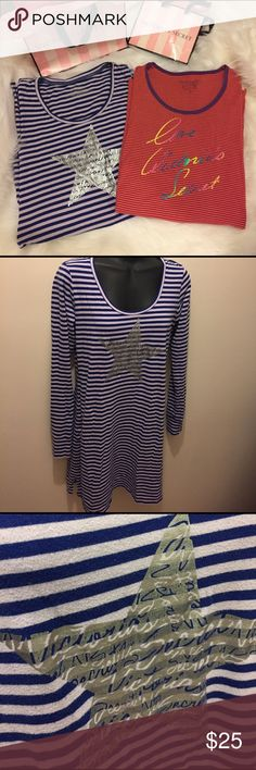 VS Sleep Bundle Long sleeve Sleep shirts by Victoria's Secret. Both in preloved good condition. No major flaws just regular wash/wear on material. Purple is small and red is XS but fit the same in me. Victoria's Secret Intimates & Sleepwear Pajamas