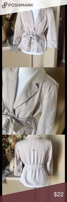 Roz & Ali Jacket Button front with attached belt. Fully lined. 100% polyester. MF Roz & Ali Jackets & Coats