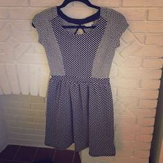 Urban Outfitters Cooperative Dress Worn only once, like new! Perfect for fall with a cardigan, tights and boots! Polka dot, contrast patterns and a keyhole on the back. Tons of stretch in this dress Urban Outfitters Dresses