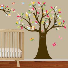 ordering in ella carlene's colors....Vinyl Wall Decal Stickers Owl Tree Set with by wallartdesign, $125.00