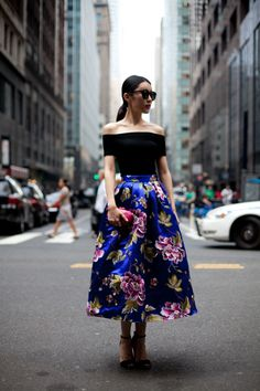 off sholder top ankle length floral skirt cobalt blue diesel black gold new york street style new york fashion week spring 2014 september 20...