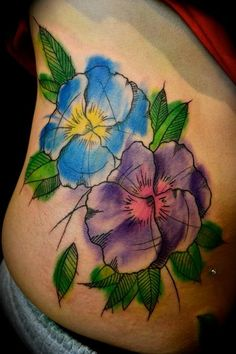 in love with this tyle of tattoo - watercolor pansies