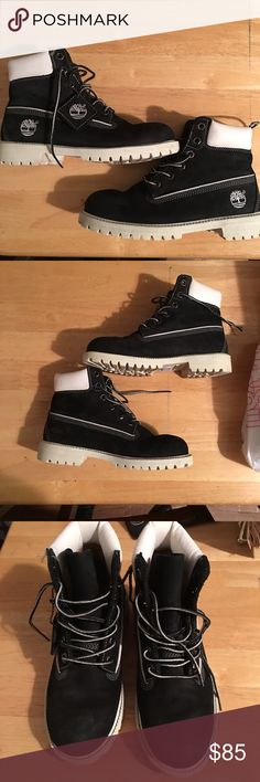"""Timberland Boots Black &White Mix Great condition. Wore around 5 times. Recently cleaned and got some """"waterproof"""" solution on them. Size 4M but I'm a 6.5 in women and they fit perfectly. Timberland Shoes Ankle Boots & Booties"""