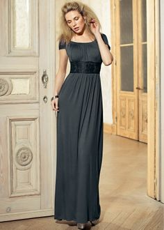 Gray maxi dress. I prefer things with sleeves, but this would look great with a lace bolero shrug over the top in an almost black color.