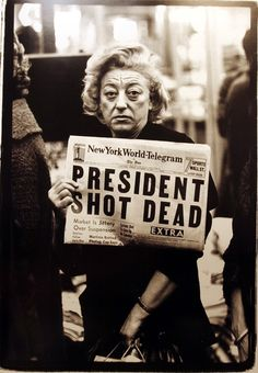 """""""Times Square, New York City"""", November 22, 1963. Photographed by by Richard Avedon. (Fiftieth Anniversary of President JFK, November, 22, 2013. A real president of the people.)"""