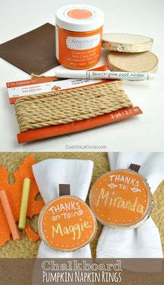 Thanksgiving Chalkboard Pumpkin Napkin Rings by Club Chica Circle.