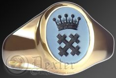 Blue / black sardonyx stone ring engraved with a cross and coronet