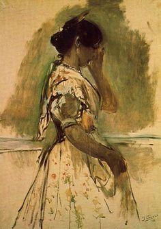 Mulher trabalhadora por Ignacio Pinazo Camarlench (1849-1916, Spain)