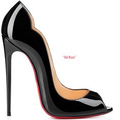Hot Wave peep-toe patent leather pump with scalloped sides and 130mm stiletto heel; available at Christian Louboutin