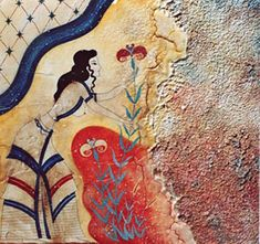 Ancient Minoan fresco - this looks like an ancient Mediterranean ancestor of Marc Chagall....