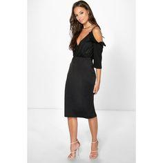 259dbf66b5f4 Boohoo Emma Satin Frill Open Shoulder Midi Dress ($16) ❤ liked on Polyvore  featuring dresses, black, midi cocktail dress, bodycon mini dress, maxi  dresses, ...