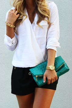 Love the complimentary gold tones on the shorts. Casual and classy but relaxed all at once. Hate the bag, though ; Short Outfits, Stylish Outfits, Summer Outfits, Cute Outfits, Classy Shorts Outfits, Black And White Romper, Black And White Heels, Elegante Shorts Outfit, Black Flare Skirt