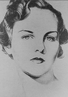 Jessica Mitford, drawing, 1930s