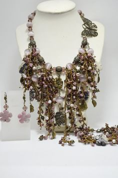 Pink and Bronze Statement Rhodonite Jewelry by BeadsGemsFlowers