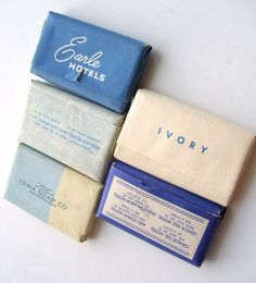 Vintage Miniature Hotel Bar Soaps In Blue. Love the design!