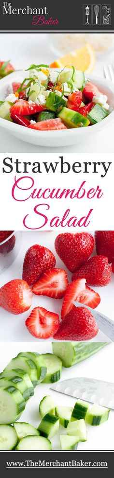 Strawberry Cucumber Salad. Easy and refreshing summer salad, dressed with a citrusy, sweet and sour vinaigrette and topped with briny feta and minty basil.