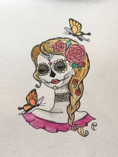 sugar skull with butterflies watercolor illustration