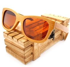 Natural Bamboo Wooden Sunglasses Handmade Polarized Mirror Coating Lenses Eyewear With Gift Box - My Trend Shoppe Men's Accessories, Sunglasses Accessories, Wooden Sunglasses, Mirrored Sunglasses, Polarized Sunglasses, Sunglasses Women, Wood Gift Box, Mens Glasses, Handmade Wooden