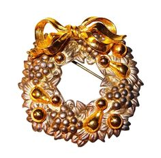 Vintage Silver-tone Wreath Pin with Gold-tone Ornaments & Bow by BeccasBestJewelry on Etsy