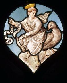 Réunion des Musées Nationaux-Grand Palais - Musée d'Ecouen, vitraux - Saint Jean et l'aigle. Ec.174. Vers 1540. XVI°s, Ile de France.