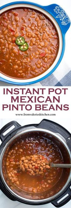 instant pot recipes Dry pinto beans cook up perfectly tender in a deliciously seasoned sauce in about an hour! These saucy Instant Pot Mexican Pinto Beans are a fantastic side dish option for a variety of entrees. Mexican Beans Recipe, Mexican Pinto Beans, Dry Beans Recipe, Beans In Crockpot, Mexican Food Recipes, Crockpot Recipes, Cooking Recipes, Homemade Chili Beans Recipe, Keto Recipes