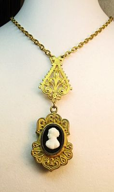 Antique Black and White Cameo Pendant Necklace | TimelessDesigns - Jewelry on ArtFire