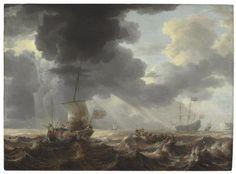 Navires sur une mer orageuse by Bonaventura Peeters the Elder